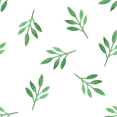 Seamless green herbal pattern with leaves. Watercolor illustration