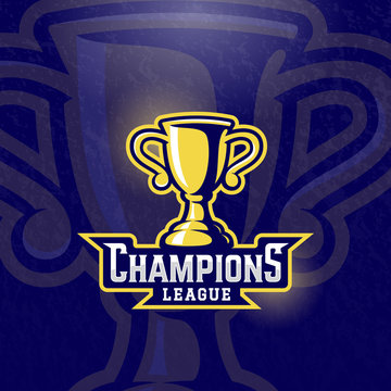Champions League Prize Cup. Vector Sport Trophy Sign, Symbol or Logo Template. Textured Background