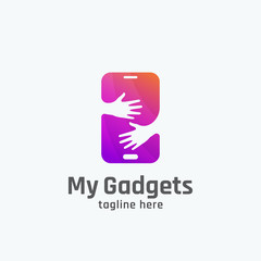 My Gadgets Abstract Vector Sign, Emblem or Logo Template. Smartphone in Hands Concept.