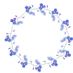 Blue round frame forget me not and bindweed spring flowers in bouquet for wedding. Decorative element for greeting card, textile, paper, wallpaper, craft, package, label, logo, invitation