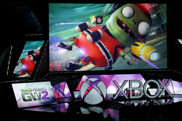 """The """"Plants vs. Zombies: Garden Warfare 2"""" video game is seen during game publisher Microsoft's Xbox media briefing before the opening day of the Electronic Entertainment Expo, or E3, in Los Angeles"""