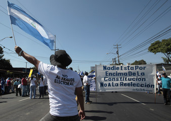 A supporter of Fabio Gadea,former presidential candidate for the Liberal Independent Party  holds a Nicaragua's flag during a march in Managua