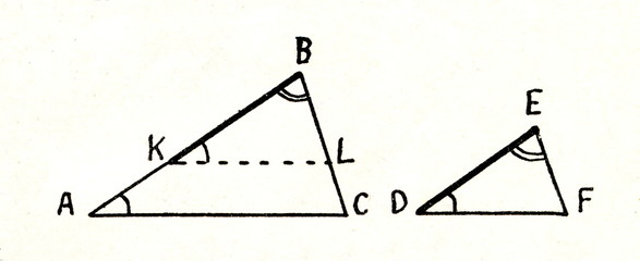 Theorem - two triangles are similar, if two of their angles are equal