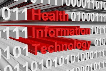 Health information technology in the form of binary code, 3D illustration