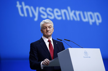 Hiesinger, CEO of ThyssenKrupp AG addresses the company's annual shareholders meeting in Bochum