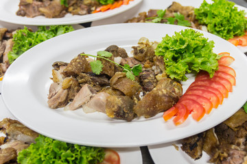 Steam pork leg with vegetable food background