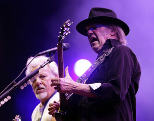 Canadian musician Neil Young and his band Crazy Horse perform at the Paleo Festival in Nyon
