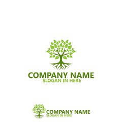 Nature Tree With Root Logo Template Design