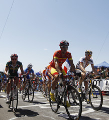 Riders compete in the elite men's road race at the UCI Road Cycling World Championships in Geelong