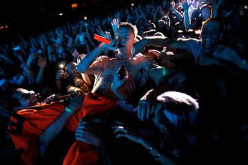 Watkin Tudor Jones from Die Antwoord, the South African rap duo, performs in Rishon Lezion's Live Park Amphitheatre, near Tel Aviv