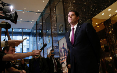 Ron Dermer, Israel's Ambassador to the U.S. speaks to members of the news media after meeting with U.S. President Elect Donald Trump at Trump Tower
