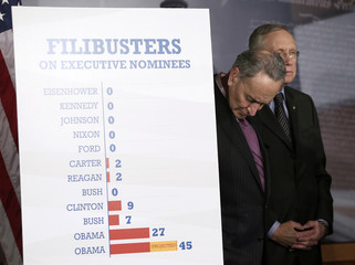 Senator Reid and Schumer hold press conference on Capitol Hill in Washington