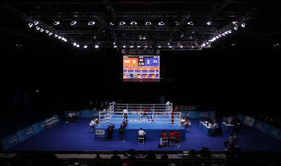 A general view of the Olympic boxing venue during the test event at the Excel centre in east London