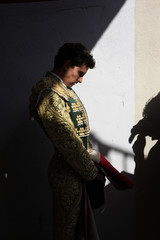 Mexican bullfighter Arturo Saldivar waits for the start of the first bullfight of the San Fermin festival in Pamplona