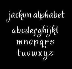Jackun vector alphabet lowercase characters. Good use for logotype, cover title, poster title, letterhead, body text, or any design you want. Easy to use, edit or change color.