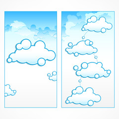 Clouds infographic, communication symbol in blue. Vector