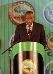Issa Hayatou president of CAF (Confederation Africaine de Football) speaks during the African soccer player awards in Accra