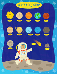 Solar System - Cute cartoon set of the solar system planets and an astronaut. Eps10