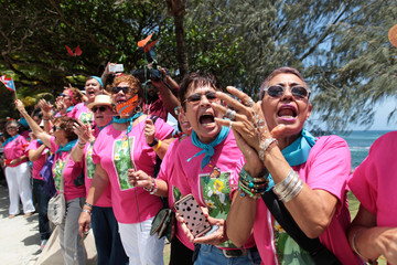 Supporters cheer as Puerto Rican Oscar Lopez Rivera arrives after being released from house arrest in San Juan