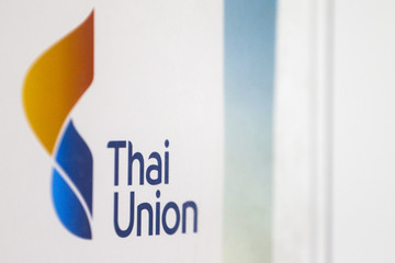 The logo of The Thai Union Group is pictured at its R&D lab in Bangkok