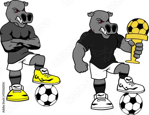 Quot soccer futbol strong hippo cartoon set in vector format