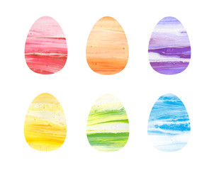 Happy Easter colorful eggs with acrylic texture on white background