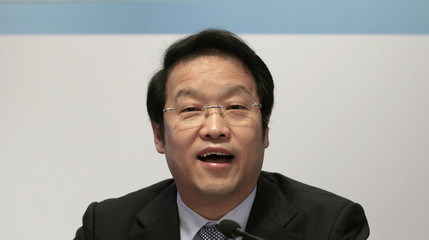 Agricultural Bank of China Chairman Xiang Junbo speaks during a news conference in Hong Kong