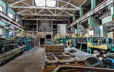 Slate production plant. Conveyor line