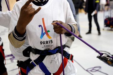 The logo of the Paris candidacy for the 2024 Olympic and Paralympic Games is pictured at the Dora Maar secondary school in Saint-Denis