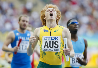 Thomas of Australia reacts after the men's 4x400 metres relay heat event of the IAAF World Athletics Championships at the Luzhniki Stadium in Moscow