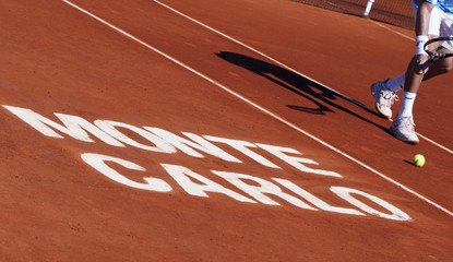 Ferrero prepares to serve during his match against Becker at the Monte Carlo Masters tennis tournament in Monaco