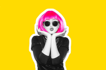 Acid crazy beautiful rock Girl in a bright pink wig and lama leather swag style red fur coat. Dangerous rocky party bored woman Ironically having fun. Flash style white background exclusive.