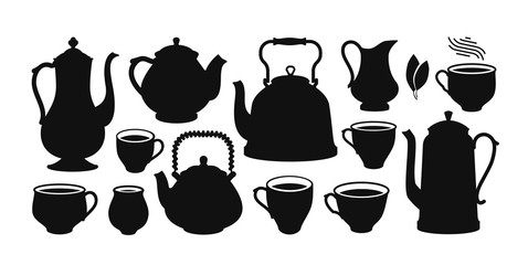 Tea set, silhouette. Kettle, teapot, cup, creamer icon or symbol. Vector illustration