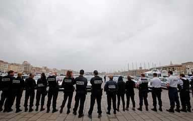 Police officers gather during an unauthorised protest against anti-police violence at the old harbour in Marseille