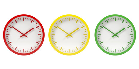 Red, yellow, green wall clock - 3D illustration isolated on white background