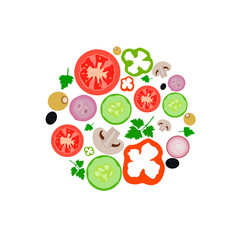 vegetables set food organic