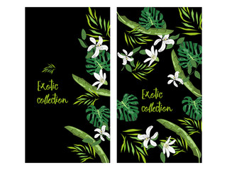 Vertical vector banner of hand drawn palm leaves and flowers. Exotic collection. An idea for design, invitation, save the date card.