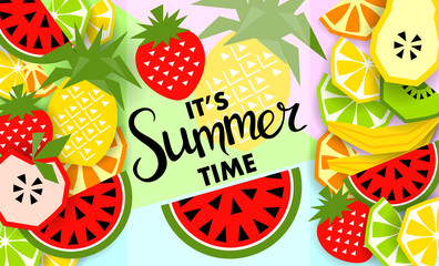 Summer banner with fruit, place for text. Vector