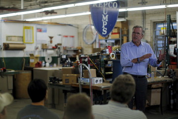 U.S. Republican presidential candidate Jeb Bush speaks at R.E. Prescott company in Exeter