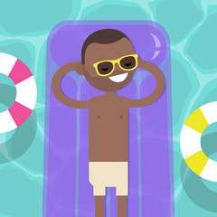 Young black character lying on the inflatable mattress in the swimming pool. Top view / flat editable vector illustration, clip art