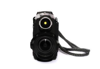 Black action camera isolated on white background