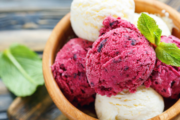 Balls lemon and berry ice cream in a bowl close up.