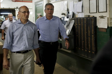 U.S. Republican presidential candidate Jeb Bush tours the R.E. Prescott company in Exeter