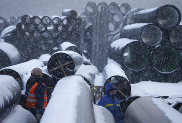 Employees work at the Klimovsk pipe plant, owned by POLYPLASTIC Group, outside Moscow