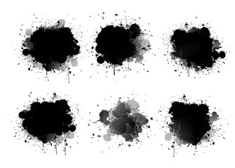 Abstract paint splashes set for design use. Splatter template set. Grunge vector illustration background.