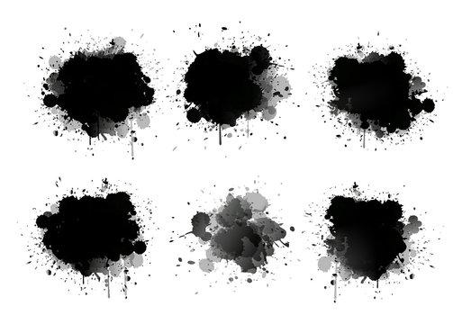 Abstract paint splashes set for design use. Splatter template set. Grunge vector illustration background.