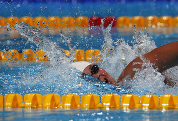 Denmark's Lotte Friis swims in the women's 1500m freestyle final during the World Swimming Championships at the Sant Jordi arena in Barcelona