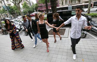 Lionel Messi with Antonella Roccuzzo, Luis Suarez and his wife Sofia Balbi, Cesc Fabregas and Daniella Semaan arrive for a commercial event in Barcelona