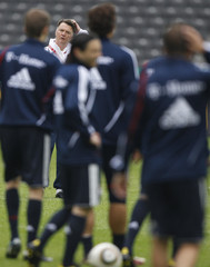 Bayern Munich's coach van Gaal reacts during a training session in Berlin