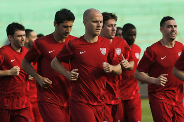 Bradley of the U.S. jogs during a practice session in San Pedro Sula